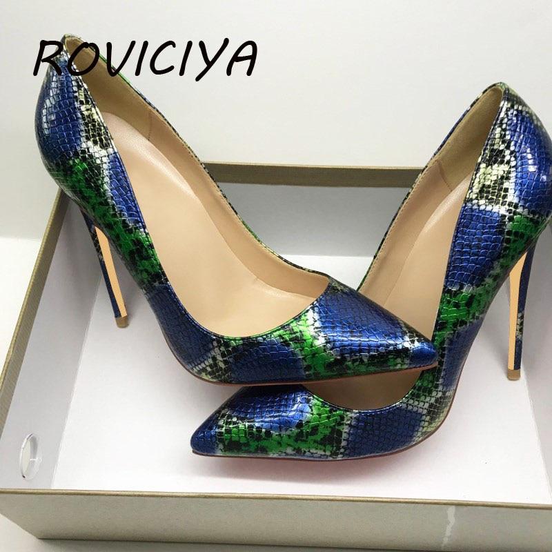 Padrão de cobra azul verde primavera bombas femininas 12cm de salto alto bombas sexy senhoras rasas festa saltos finos sapatos qp085 roviciya