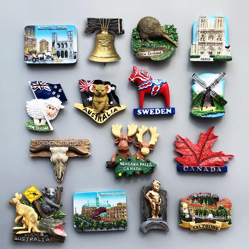 Магниты на холодильник Канада ирландский немецкий Голливуд Швеция голландский Зальцбург Австралийский магнит на холодильник наклейка сувенир для путешествий