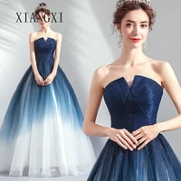 2020 new listing blue evening dresses tulle ball gown v neck floor length formal gowns long evening dress party dresses vestidos