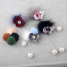 i-Remiel Long Needle Brooch Hair Ball Brooches Pin Korean Fabric Flowers Mink Coat Sweater Shawl Cardigan Women's Accessories