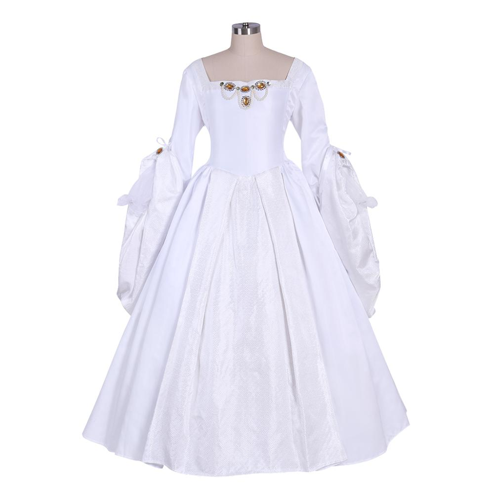 تأثيري diy-زي الملكة مع فستان أبيض ، فستان لفترة تيدور ، آن بولين ، L320