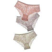 3 Pcs Women Underwear Lingerie Sexy Lace Transparent Panties Tempting Briefs High Quality Low Waist Intimates Womens Underpants