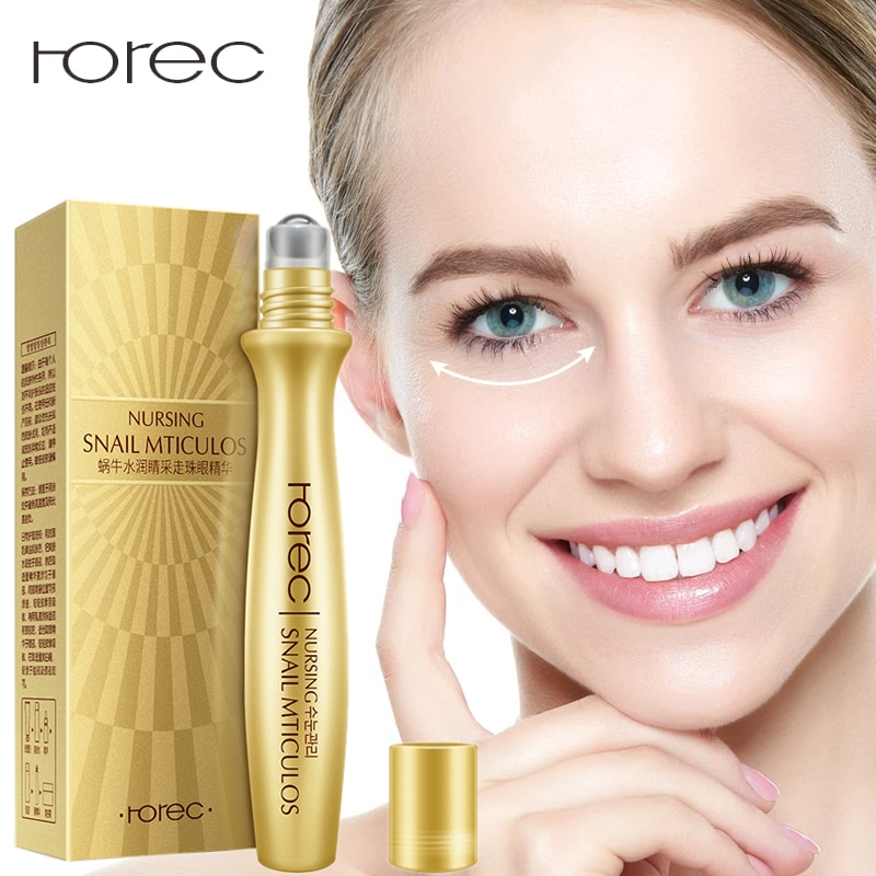 ROREC Anti-Wrinkle Snail Eye Serum Collagen Essence for Eyes Anti Puffiness Against Bags Hyaluronic Acid Moisturizing Cream 15ml