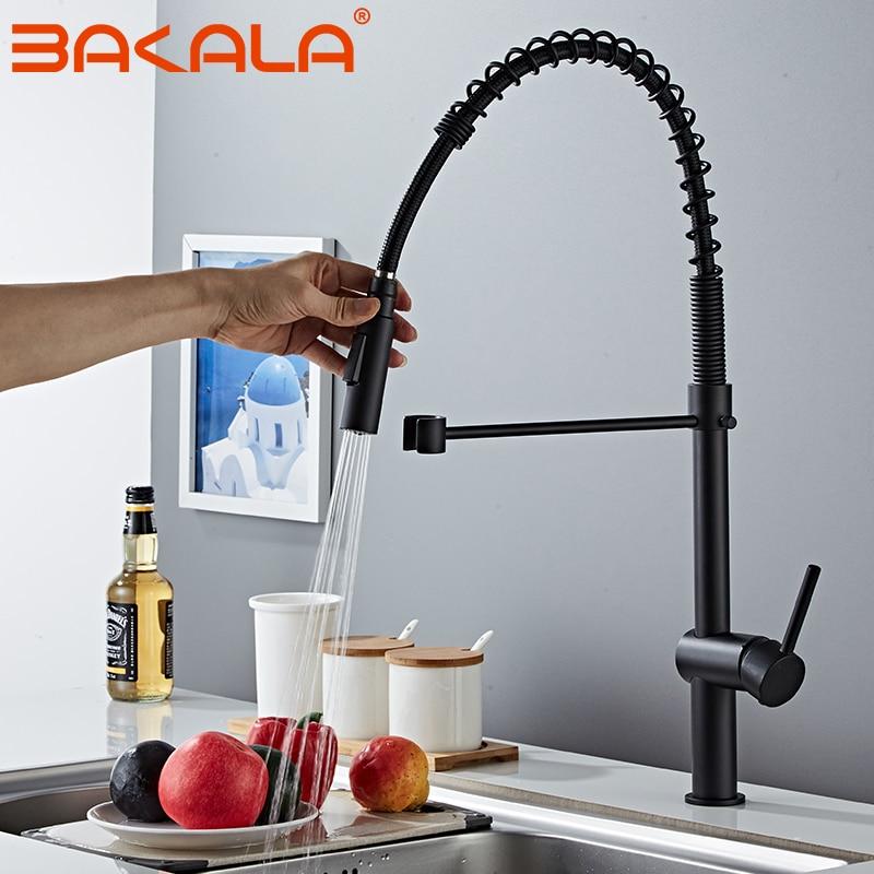 BAKALA الفاخرة 2 وظيفة المياه منفذ LED مطبخ الحنفيات نحى النيكل والأسود بالوعة صنبور سحب المطبخ خلاط صنبور