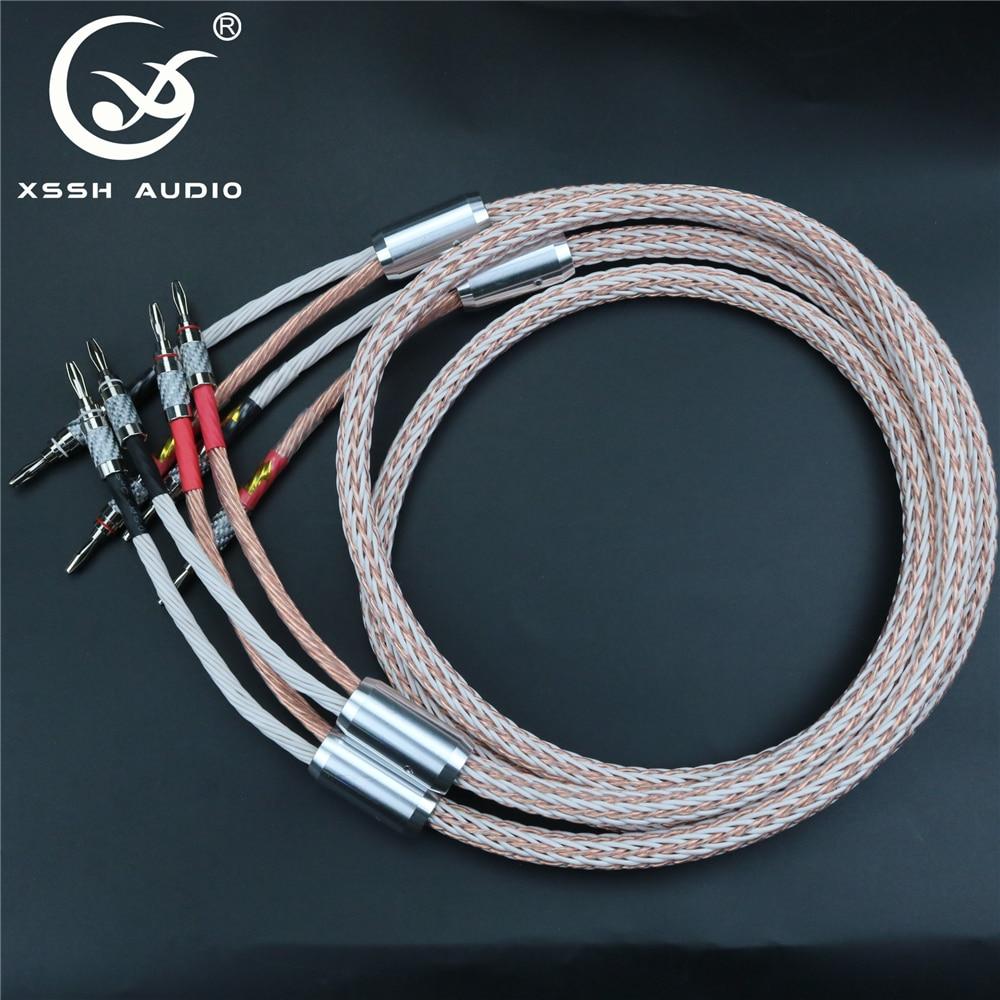 1 par XSSH audio HIFI fibra de carbono rodio plateado banana enchufe a banana enchufe OFC cobre 12TC 24 cable de altavoz central cable
