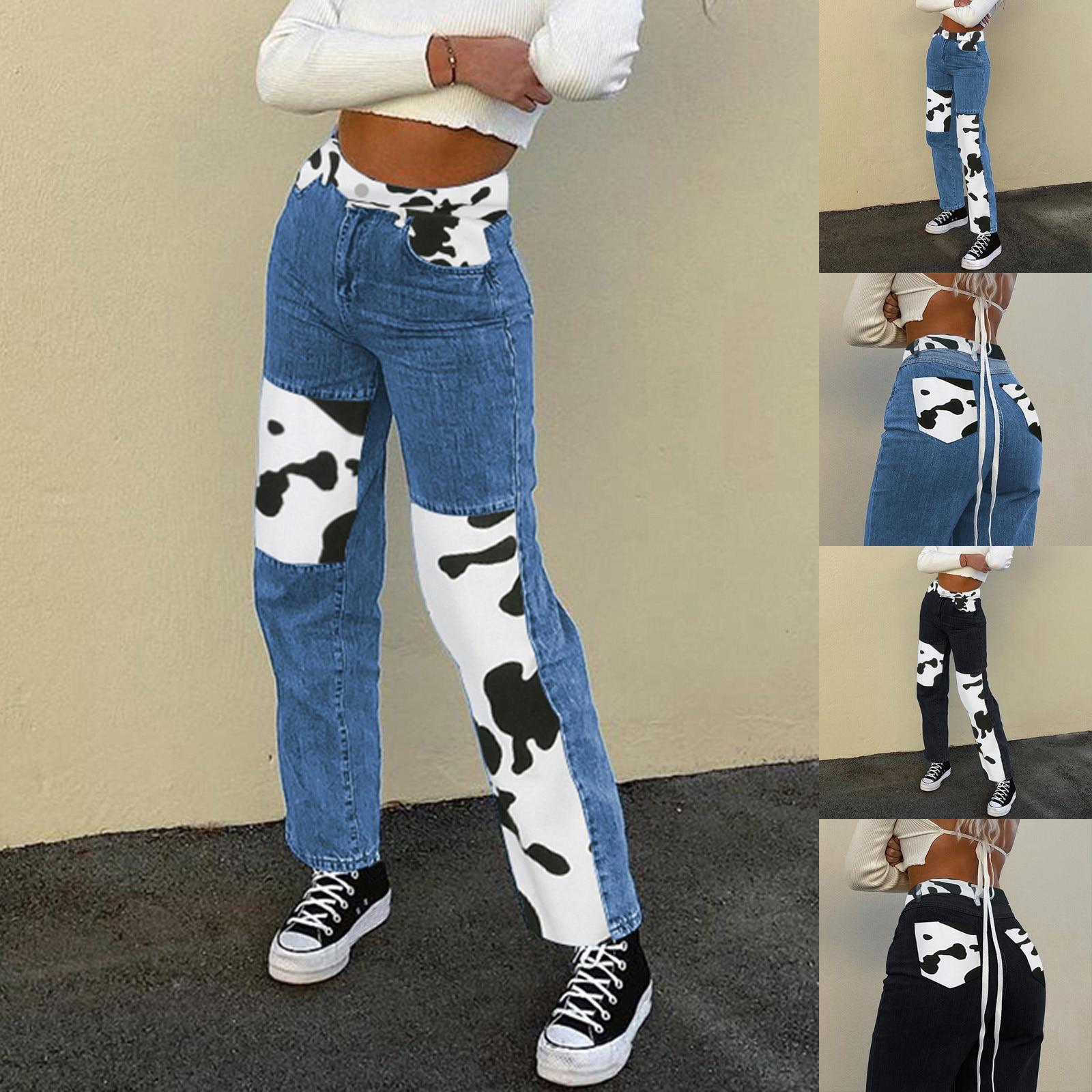 Women's Pants Straight Leg Jeans Women High Waist Slim Loose Cow Printed Matching Color block Fashio
