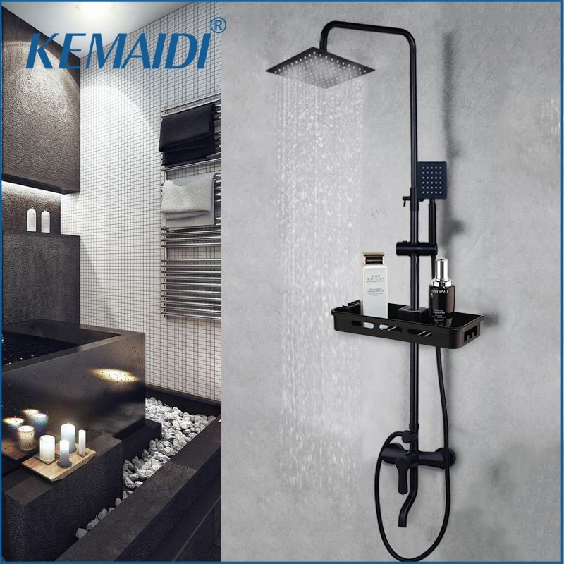 KEMAIDI Matte Black Rainfall Shower Faucet Set Single Lever Bathtub Shower Mixer Faucet & Storage Shelf  Shower Mixer Water Tap