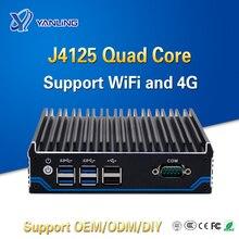 Fanless Computer Dual Lan Port Intel Quad Core J4125 CPU 2.0GHz To 2.7GHz Mini PC For Window 10 Linu
