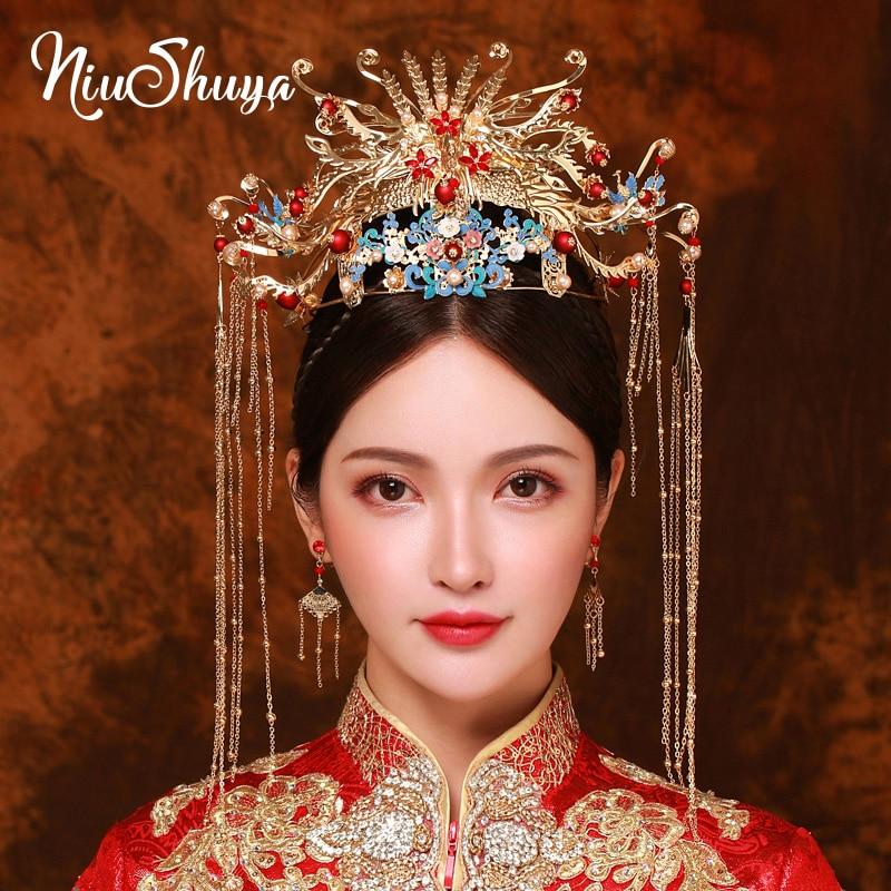 NiuShuya Luxus Hochzeit Braut Traditionellen Chinesischen Haar Zubehör Kopfschmuck Gold Pfau Haarband Krone Haar Schmuck Ornament