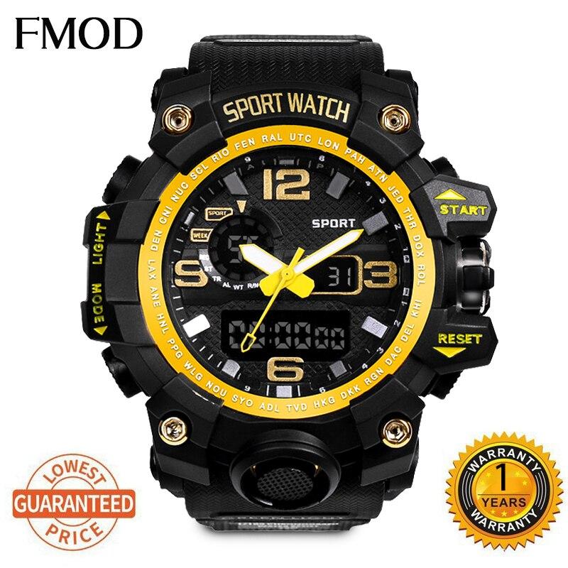 Digital à Prova Relógios de Pulso Fmod Marca Relógio Esporte Dwaterproof Água Casual Choque Masculino Relógios Presente Militar Led