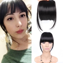 AliLeader Black Fake Hair Bans Front Neat Bangs Clip In Hairpiece Fringe Hair Extensions For Women Straight Synthetic Pure Color