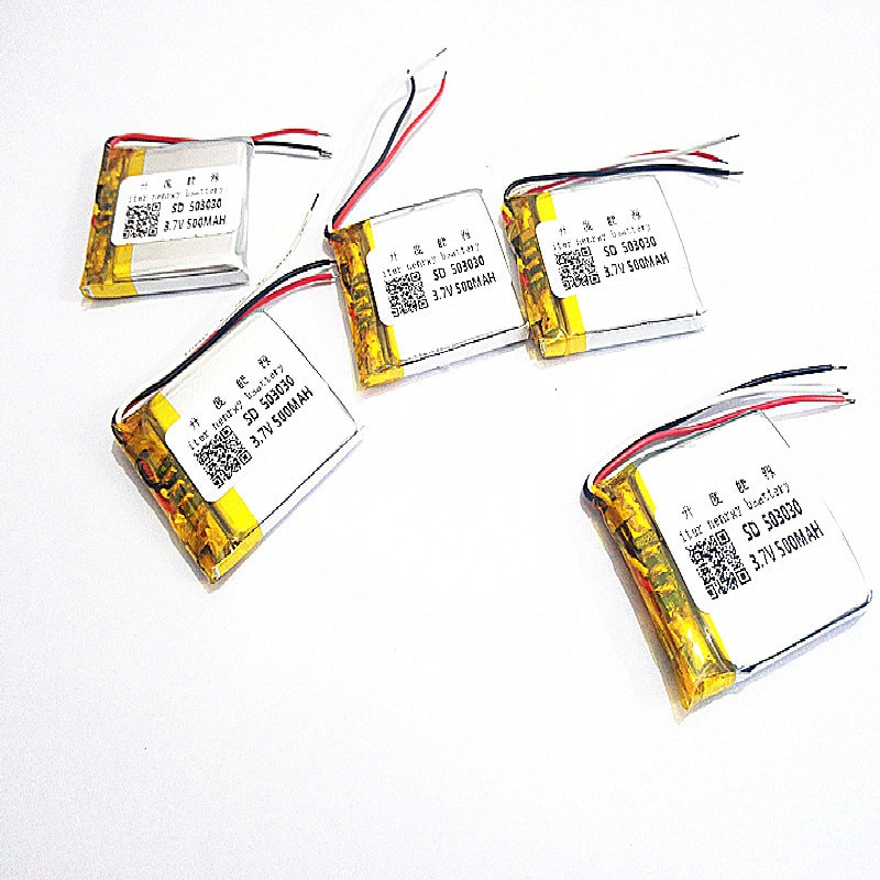 5 uds batería de polímero de 3 líneas 500 mah 3,7 V 503030 altavoces MP3 de hogar inteligente batería para DVR, GPS, mp3, mp4, teléfono móvil, altavoz