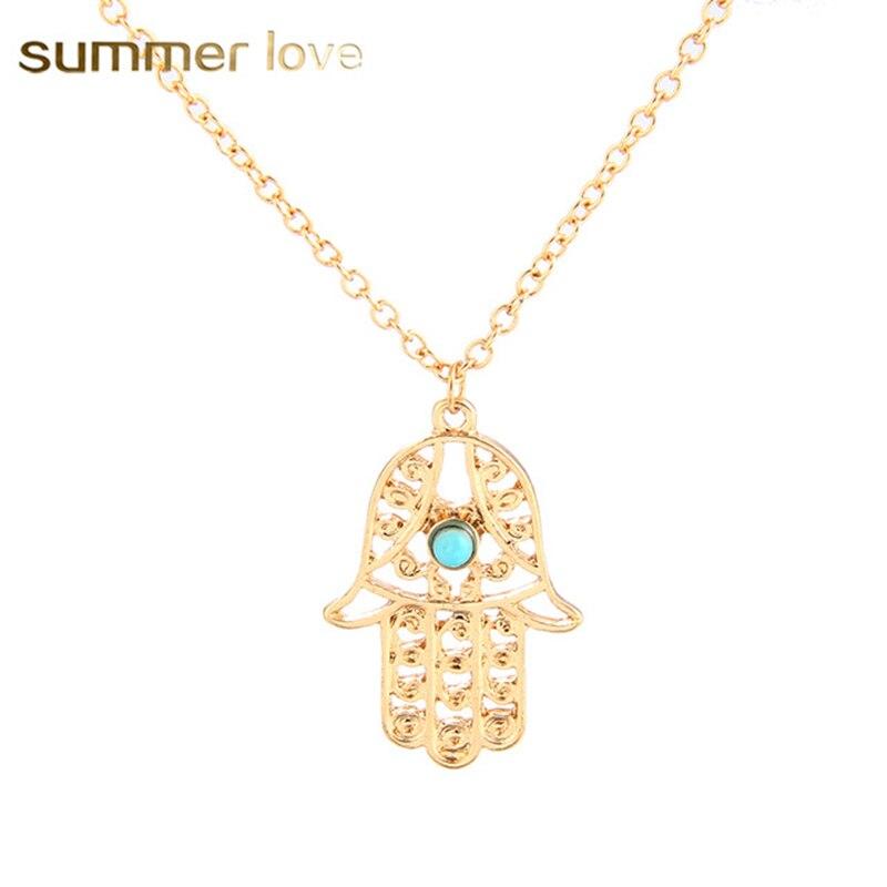 Lucky Fatima Hamsa Pendant Necklace Fashion Vintage Chain Necklale Women Lucky Hand Jewelry Bijoux Femme Cheap