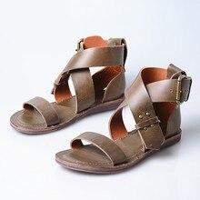 Rétro Femmes Dété Sandales Plates Chaussures De Plage Femme En Cuir Véritable Femme Décontracté Appartements Sandalias Mujer Chaussures