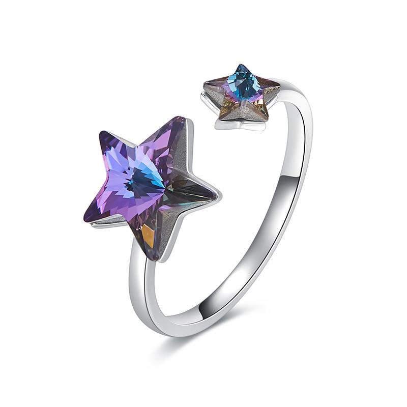 Warme Farben embellece con cristal de Swarovski croean Simple apertura estrella Ajustable tamaño Anillos Mujer romántico regalos