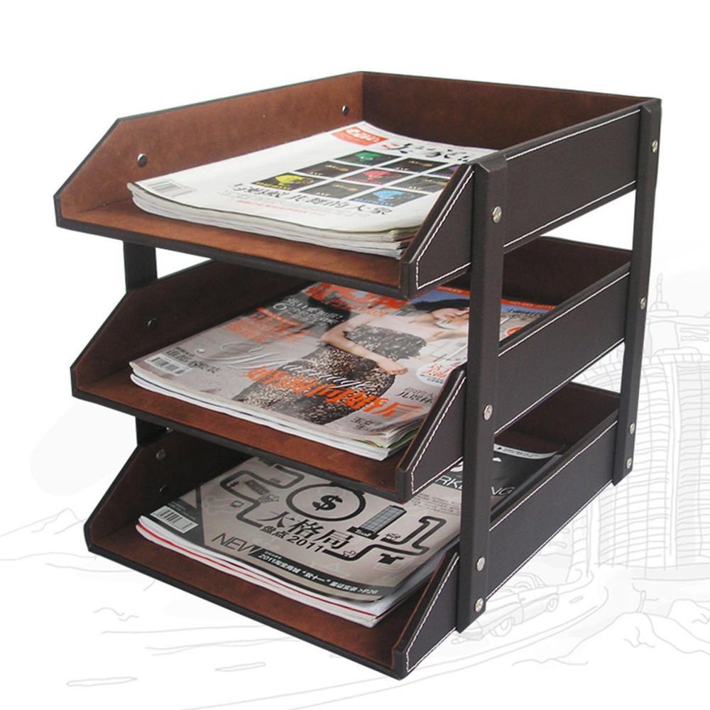 أي وقت مضى الكمال 3 طبقات بو الجلود وثيقة A4 إلكتروني صينية حامل ملف مجلة رف مكتب ملف المنظم تخزين الأدراج