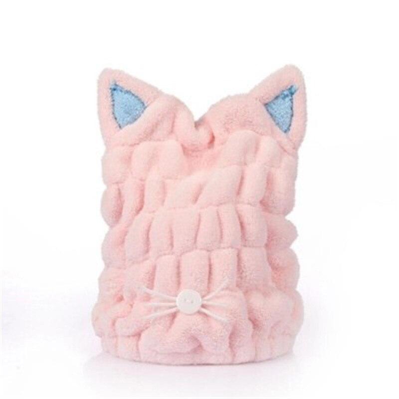 Мягкое сушильное полотенце с милым котом для ванной, быстро впитывающая и быстросохнущая шапочка для волос, микрофибра для душа, Коралловое бархатное полотенце для сушки волос