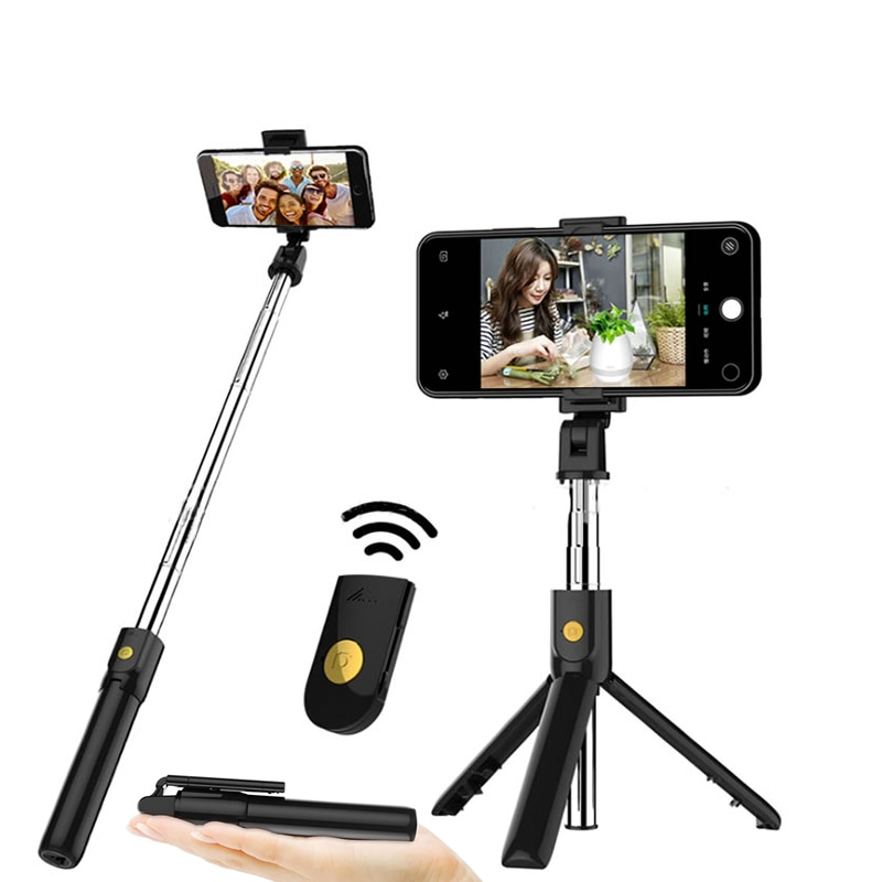 Wireless Bluetooth Selfie Stick Tripod Foldable Handheld Monopod with Shutter Remote Extendable Mini Tripod for iPhone Android