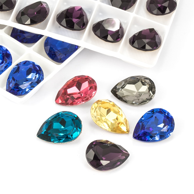 Brillante gota de lágrima de cristal K9 diamantes de imitación sueltos de alta calidad chapado metálico Piontback Strass cristal pegamento en la joyería del vestido