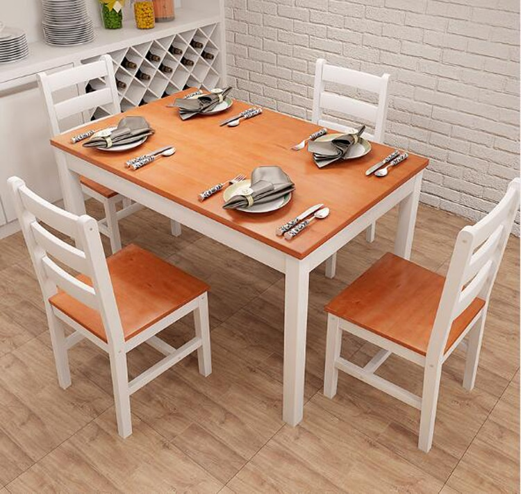 Solid wood dining table chair set стол обеденный combination dining table chair set 1 piece dining table 4 pieces chairs set 5pcs dining chair set 4 chairs 1 dining table set wooden metal furniture brown black beige home kitchen office furniture