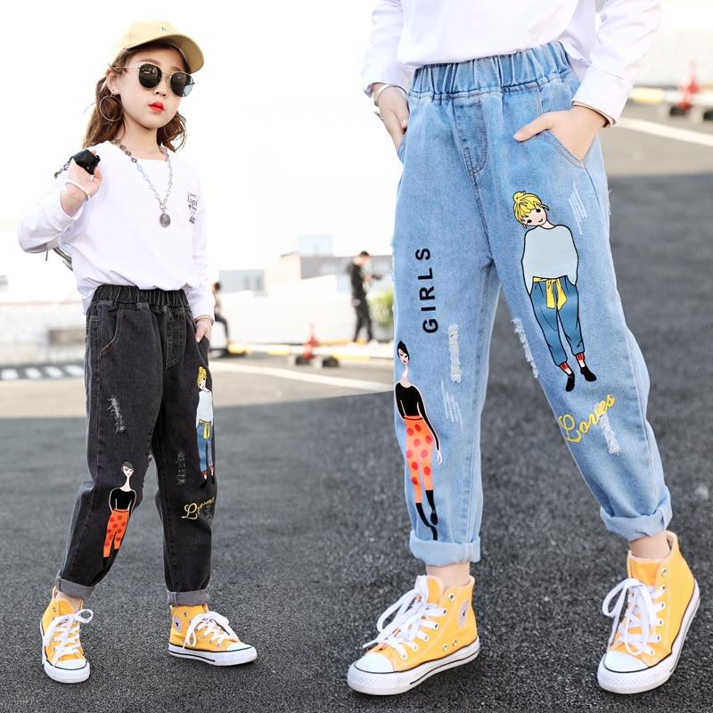 2021 мода мультфильм джинсы для девочек подростков; Одежда для детей джинсы с эластичной резинкой на талии, джинсовые штаны, детские штаны для девочек; Одежда для детей; От 4 до 13 лет Джинсы    АлиЭкспресс
