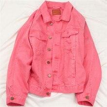 Korean style Pink Denim Jacket Coat Women Spring Autumn Loose Bat sleeve Bomber Jeans Jacket Female Casual Streetwear Outerwear