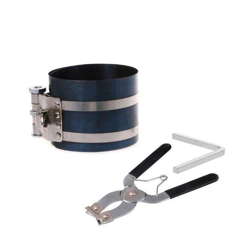 1 Juego de compresor de anillo de pistón de estilo de trinquete y anillo de pistón instalador de alicates removedor herramienta de motor