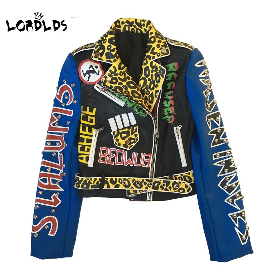 LORDLDS-جاكيت جلدي نسائي ، ملابس الشارع ، راكب الدراجة النارية ، نمط الشرير ، ملابس نسائية مطبوعة ، ملابس خارجية
