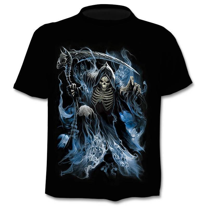Skull T shirt Skeleton T-shirt gun Tshirt Gothic shirts Punk Tee vintage rock t shirts 3d t-shirt anime male styles dropshipping
