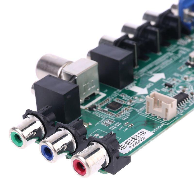 Placa de controlador de TV LCD V56 V59 DVB-T2 + interruptor de 7 teclas + IR + 1 inversor de lámpara + Kit LVDS 3663 D08A