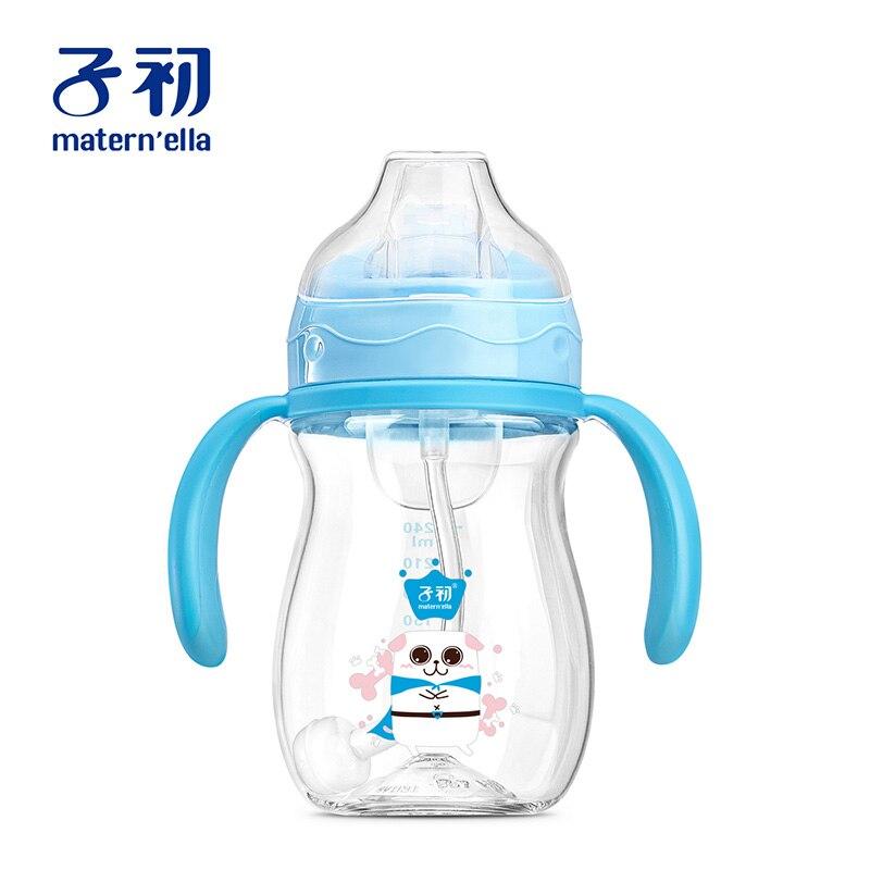 Boca de pato aprendendo palha gravidade bola beber copo garrafa de alimentação copo sippy dupla-uso bebê criança com alça de treinamento 240ml