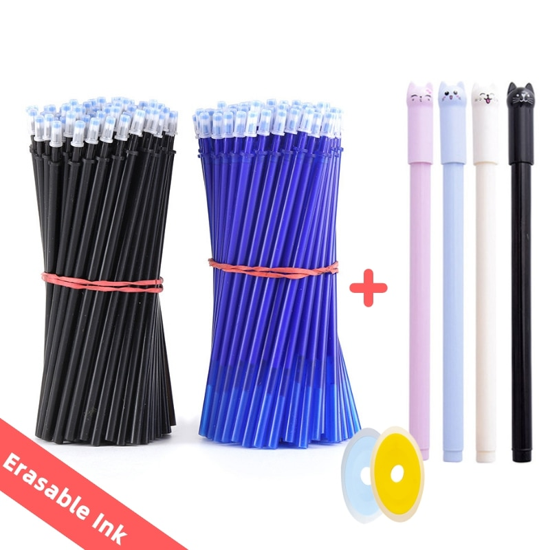 25pcs/set Erasable Gel Pen Refills Rod 0.5mm Washable Handle Magic Erasable Pen for School Pen Writing Tools Kawaii Stationery