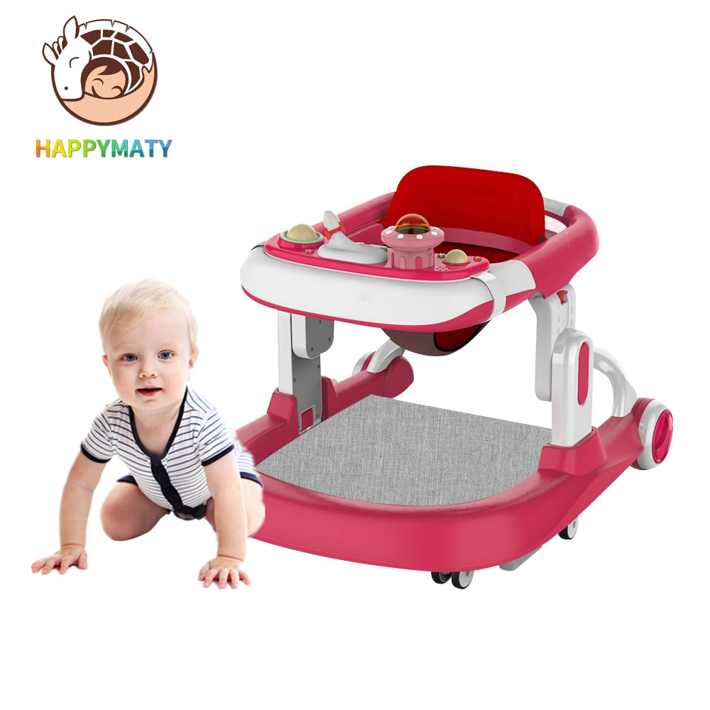 Happymaty Baby Walker For Indoor Play With 2 Cushions Anti-roller Qalker And Foldable Balance Car With Movable Tray