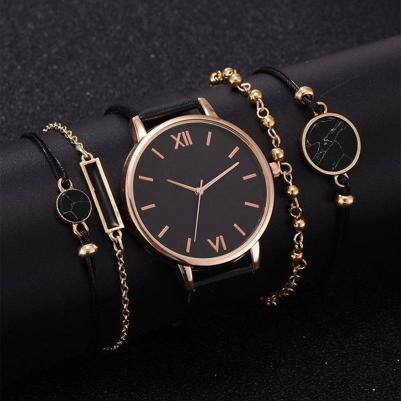 5pcs Women Watch Set Woman Quartz Wristwatch Leather Ladies Bracelet Luxury Watch Casual Relogio Femenino Gift For Girlfriend