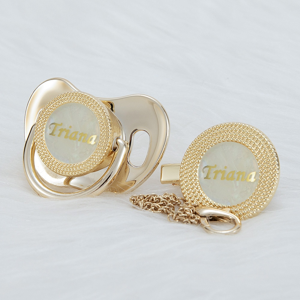 MIYOCAR Personalized any name  gold bling pacifier and pacifier clip BPA free dummy Luxury unique design pacifier PPG