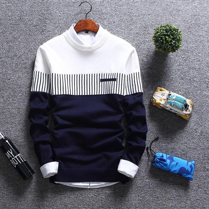 Suéter de invierno para hombres 2020 otoño suéteres tejidos a rayas para hombre ropa de marca Casual pull homme hombre