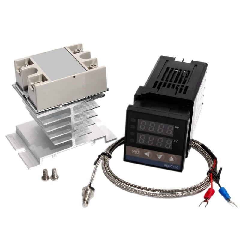 Controlador de temperatura pid digital rex c100 termostato + 25da ssr relé k termopar 1m m6 rosca sonda dissipador calor