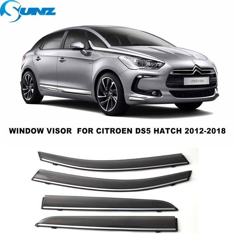 Side Window Visors For  Citroren DS5 Hatchback 2012 2013 2014 2015 2016 2017 2018 Smoke Weathershields Sun Rain Deflectors SUNZ
