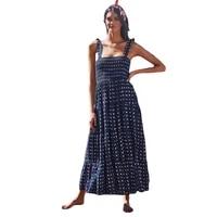 sling strap print maxi dress women 2021 new fashion elastic waist beach holiday bohemian dresses female jd1427