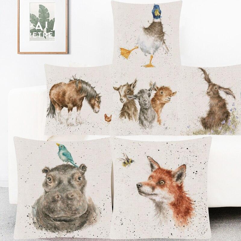 Funda de cojín con estampado de animal pintado a mano, funda de almohada de lino para dormitorio, funda de cojín de Dachshund, pato, zorro, pájaro, búho, liebre