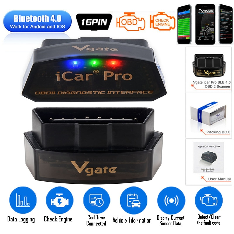 Newest Vgate iCar Pro ELM 327 Bluetooth/WIFI OBD2 Scanner car diagnostics elm327  obd2 Diagnostic Tool scan tool pro obd2