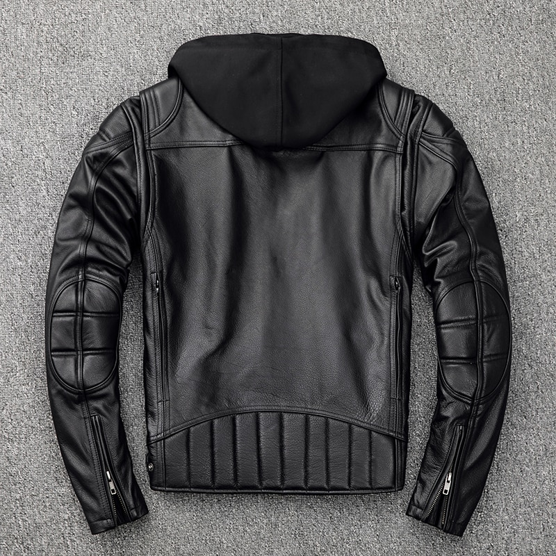 Leather Genuine Jacket Men Hooded Spring Autumn Motorcycle Real Cow Leather Coat Plus Size Cowhide Jackets KJ2907
