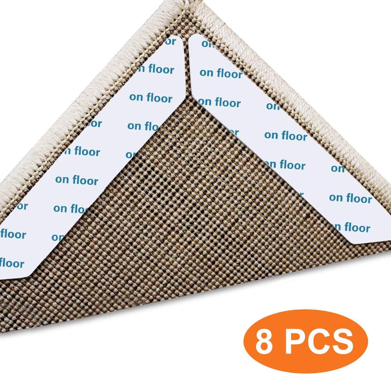 8 unids/set alfombra antideslizante parche suave alfombra pinzas negro anti rizador alfombra pinza antideslizante parche D40