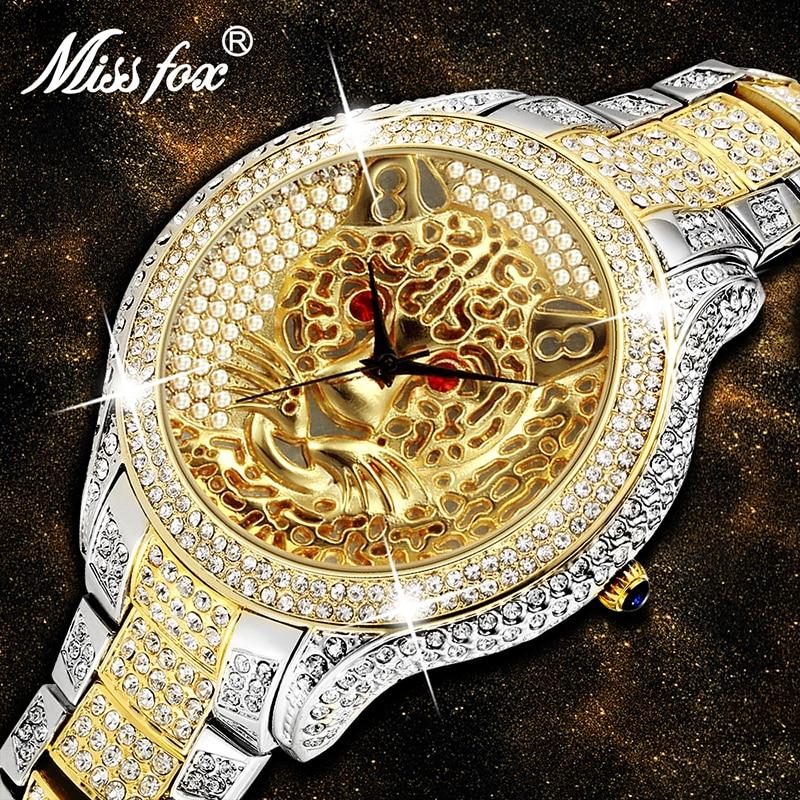 Miss Fox-ساعة يد كوارتز للرجال ، سوار ذو علامة تجارية فاخرة ، شكل نمر ، كاجوال ، فضي وذهبي