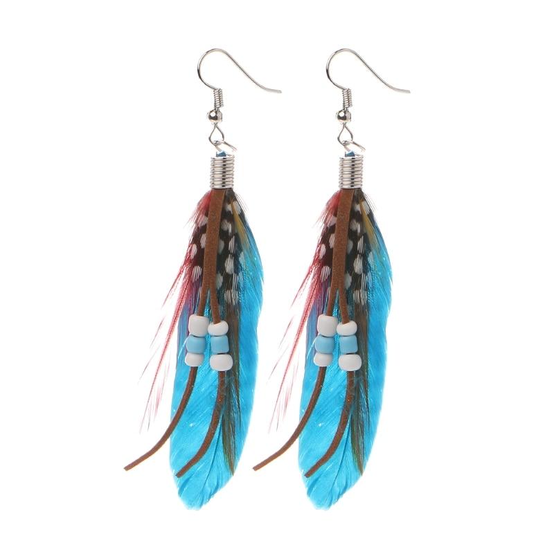 1 Pair Bohemia Handmade Natural Goose Feather Beads Tassel Dangle Earrings Women 634D