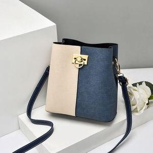 Chuwanglin Vintage Women Bucket Bag Winter Woolen Shoulder Bag Lady Small Crossbody Bag PU Leather Patchwork Bag 3101500