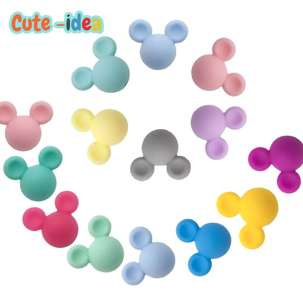 AliExpress - Cute-idea 10pcs Mouse Baby Teething Beads Food Grade Cartoon teether For Necklaces Baby Teether Nursing Pacifier chain Toys