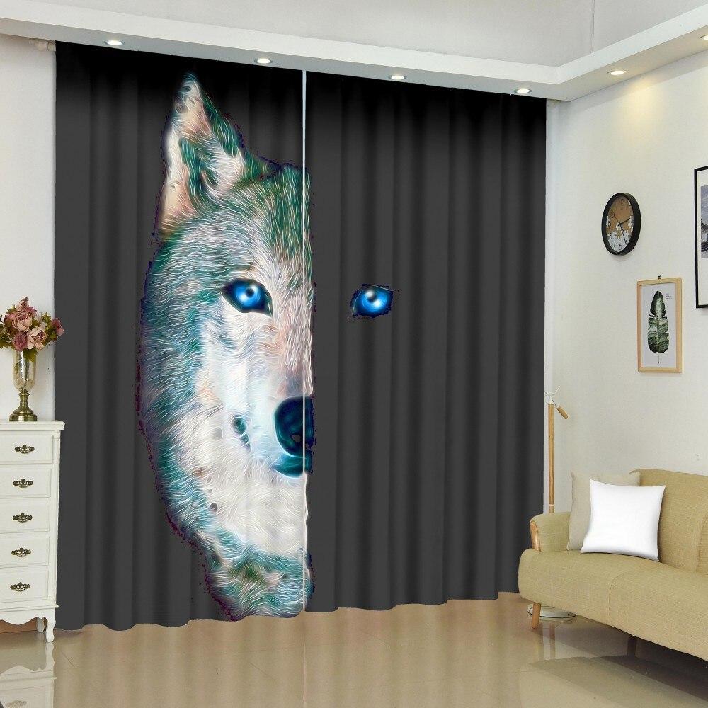 Cortinas de tratamiento de ventanas Wolf, decoración de dormitorio de animales, tratamiento de ventanas opacas para niños, 2 paneles personalizados
