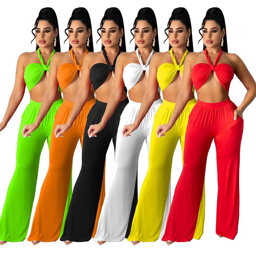 Sexy Women Two Piece Set Halter Crop Top +% 2B Long Wide Брюки спортивный костюм Women Solid Color Summer Clothing For Women Outfit