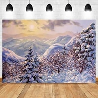 laeacco winter watercolor nature landscape snow mountain trees christmas birthday backdrop photographic photo background